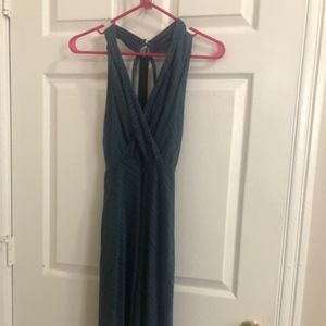 Strappy Blue Dress with Front Cutout